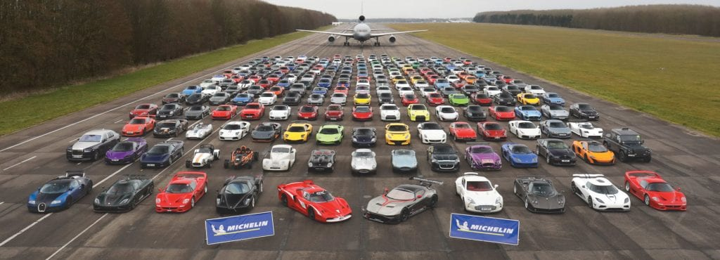 Large group of supercars at the Supercar Driver Secret Meet